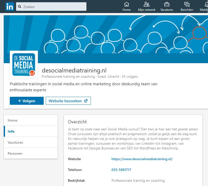 De LinkedIn bedrijfspagina van De Social Media Training